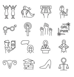 feminism signs black thin line icon set vector image