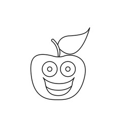 figure kawaii fruit apple happy icon vector image