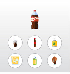 Flat icon drink set of juice drink carbonated vector