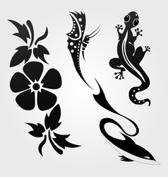 flora and fauna pattern tribal set tattoo vector image