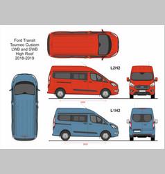 Ford transit tourneo custom van l1h2 and l2h2 2018 vector
