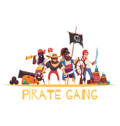 gang pirates cartoon background vector image