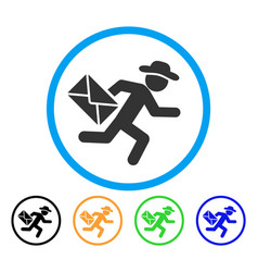 gentleman mail courier rounded icon vector image