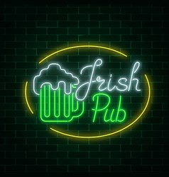 Glowing neon irish pub signboard in ellipse frame vector