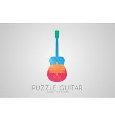 Guitar logo puzzle logo design creative vector