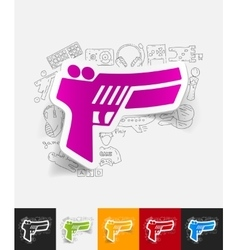 Gun game paper sticker with hand drawn elements vector
