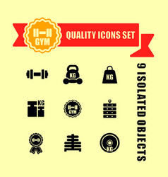gym icons set with red tape vector image