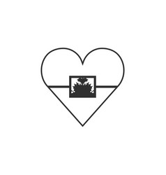 haiti flag icon in a heart shape in black outline vector image