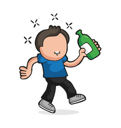 hand-drawn cartoon of drunk man walking holding vector image