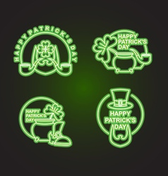 Happy Patricks day Happy set of emblems Neon sign vector image