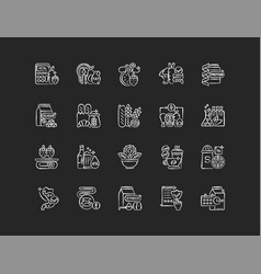 Healthy eating chalk white icons set on black vector