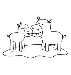Hippopotamus couple over grass in monochrome vector