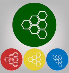 honeycomb sign 4 white styles of icon at vector image