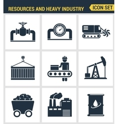 Icons set premium quality of heavy industry power vector image