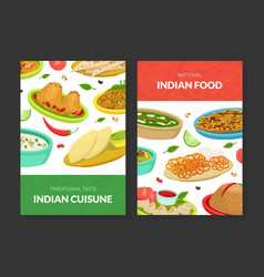 indian food card templates set national cuisine vector image