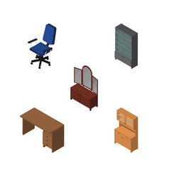 isometric furniture set of drawer table vector image