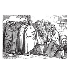 jesus cures an epileptic boy vintage vector image