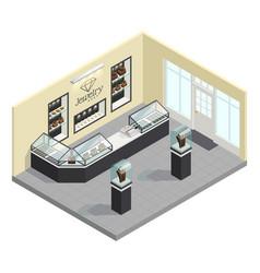 jewelry shop isometric interior vector image