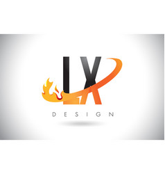lx l x letter logo with fire flames design and vector image