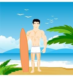 Man on beach vector