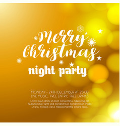 merry christmas night party glowing orange vector image