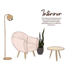 minimalist design sketch scandinavian style vector image
