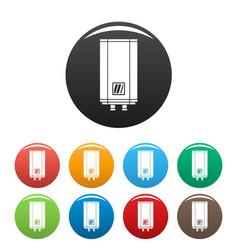 Natural gas boiler icons set color vector