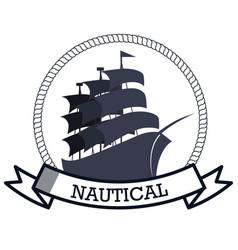 Nautical frame with ship vector