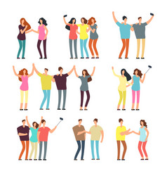 Neighbors men and women characters friends groups vector