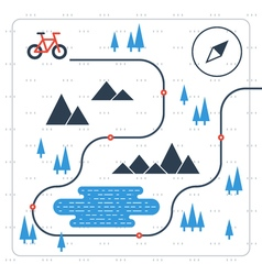 Outdoor cycling activities bike race itinerary vector