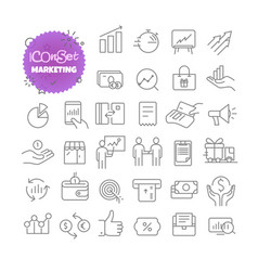 outline icon set pictogram set marketing vector image
