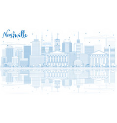 outline nashville skyline with blue buildings and vector image
