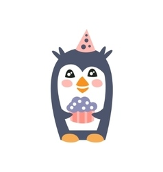 Penguin With Party Attributes Girly Stylized Funky vector image
