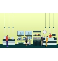 People shopping in a mall poster concept vector