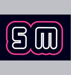 pink white blue alphabet combination letter sm s vector image