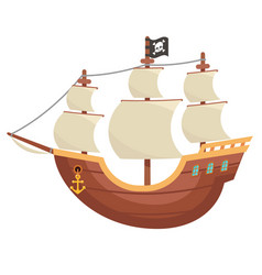 Pirate wooden boat buccaneer sailing filibuster vector