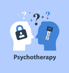 Psychology concept two heads with padlock and key vector