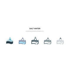 Salt water icon in different style two colored vector