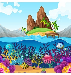 Scene with fish under the ocean vector