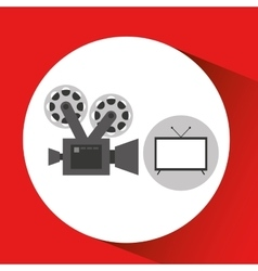 Screen tv movie retro camera film vector