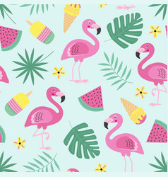 seamless pattern with flamingo ice cream fruit vector image