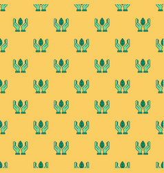 seamless pattern with linear green eco icons vector image