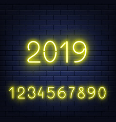 set of glowing neon numbers on vector image
