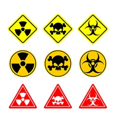 Set sign Biohazard toxicity dangerous Yellow signs vector image