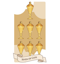 Seven cups tarot cards seven cups with a lid vector