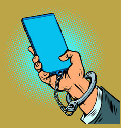 smartphone addiction the man hand is chained vector image