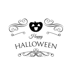 Smile Pumpkin Happy Halloween Filigree scroll vector image