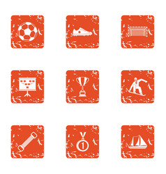 Soccer icons set grunge style vector