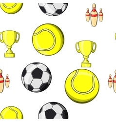 Sports accessories pattern cartoon style vector image