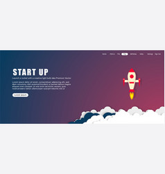 startup background rocket ship launch concept vector image